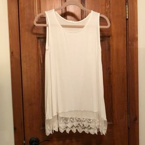 White Tank Top with Lace Hem